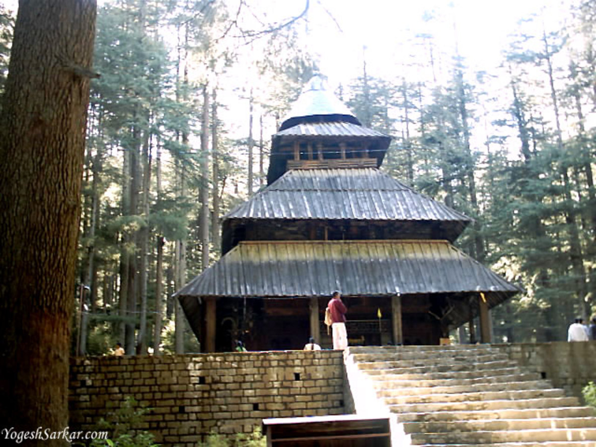 Hadimba Devi Temple in Manali having legendary figures and symbols.