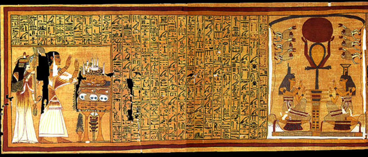 This Egyptian Book of the Dead is written on Egyptian Papyrus to assist in the hopeful resurrection of Ani and his Wife. This is the very start of the papyrus scroll with its opening Hymn to Ra. Another Hub can discuss details of the Egyptian Symbols