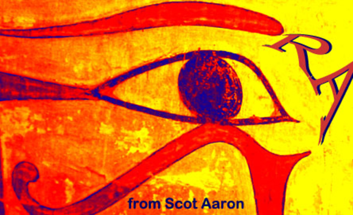 "The ""Eye of Ra"" is also the Healed Eye of Horus. The job of Horus is heal the for the Great Egypt God RA.  [This Egyptian Picture is form my ""Photo Art."" I took this hi-res picture in Egyptian part of the Louvre in Paris.]"