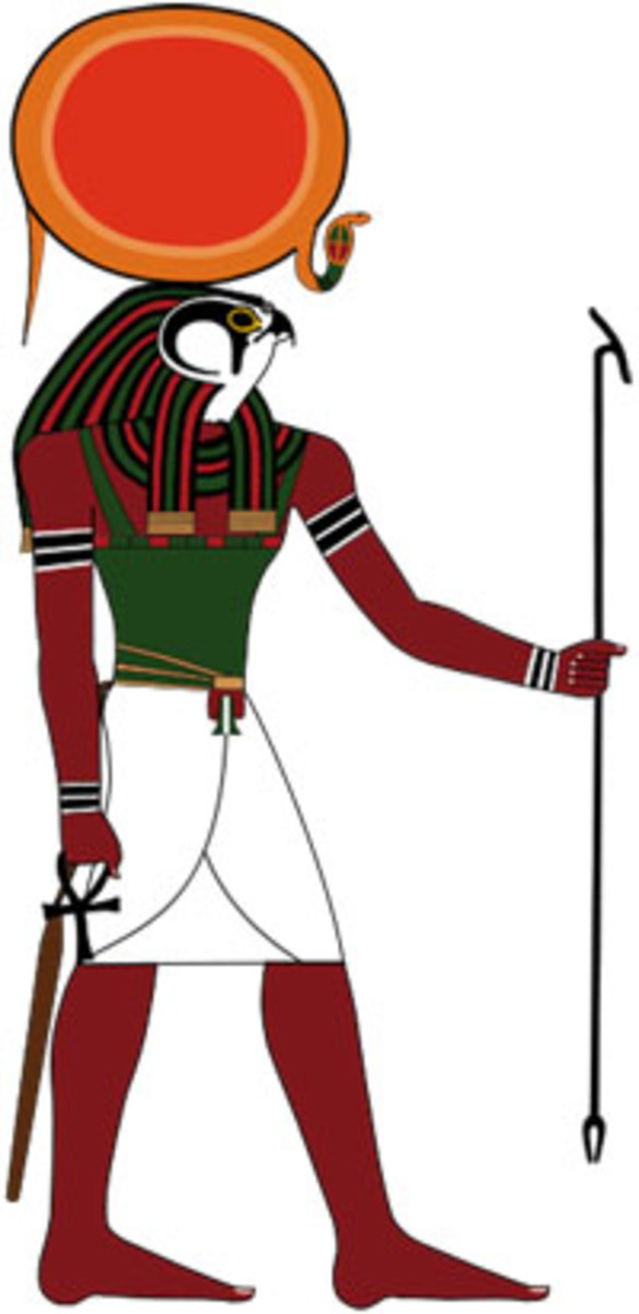 "The Great Egyptian God Ra is recognized with Disk of Sun for a headdress. Ra the Sun God stems from this image. [I'll add more ""Pictures of Ra"" later.]"