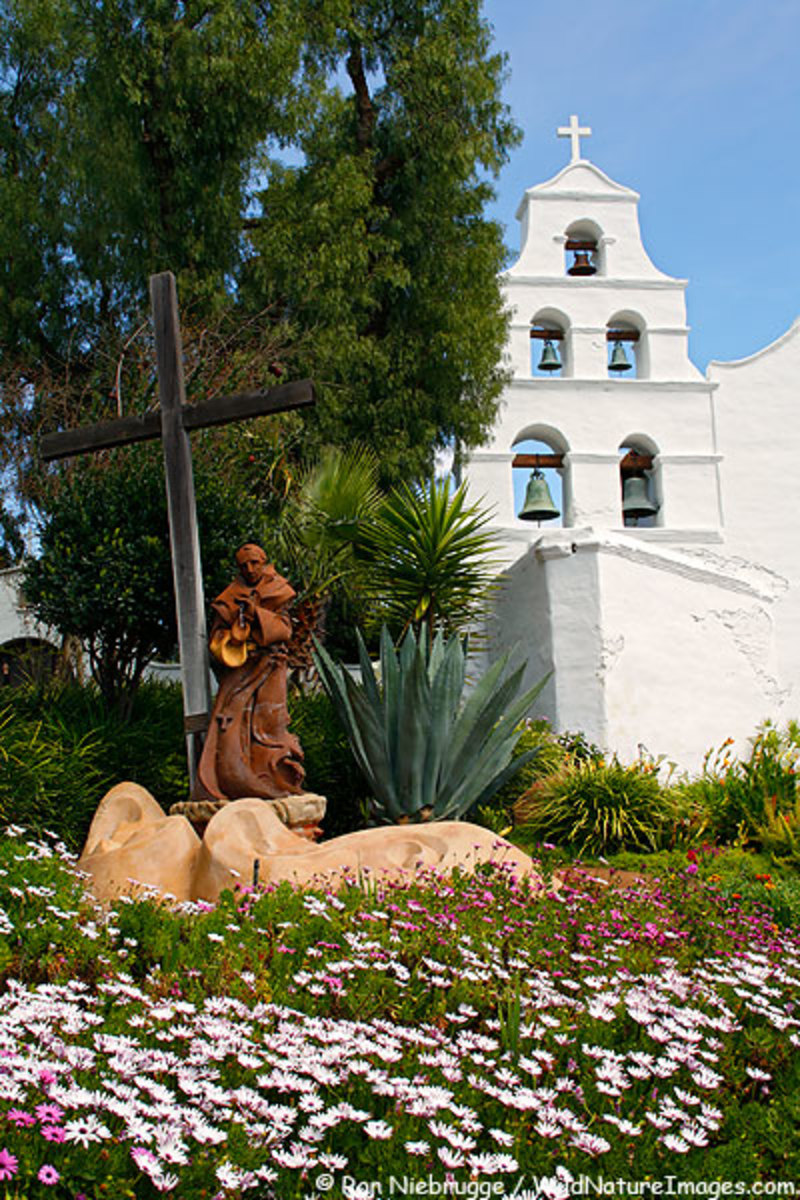 Mission San Diego's campanario, or bell tower, with five bells.