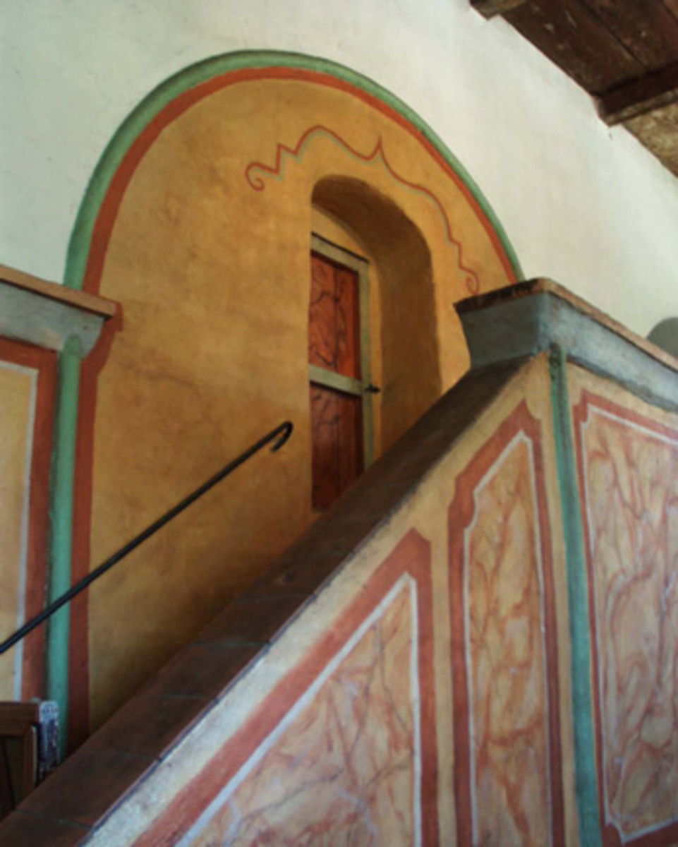 Mission San Juan Bautista. Hand-painted decorative work retains the native Indian artistry.