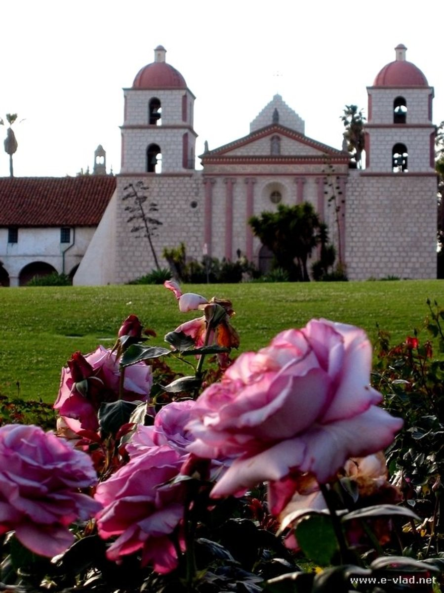 With unique, twin campanarios, Mission Santa Barabara was built by Chumash Indians, and the Franciscans still minister here to Indian tribes-people.