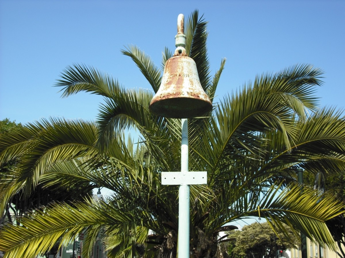 Standing bells, such as this one at Mission Dolores in San Francisco, marked missionary sites along the El Camino Real trail.