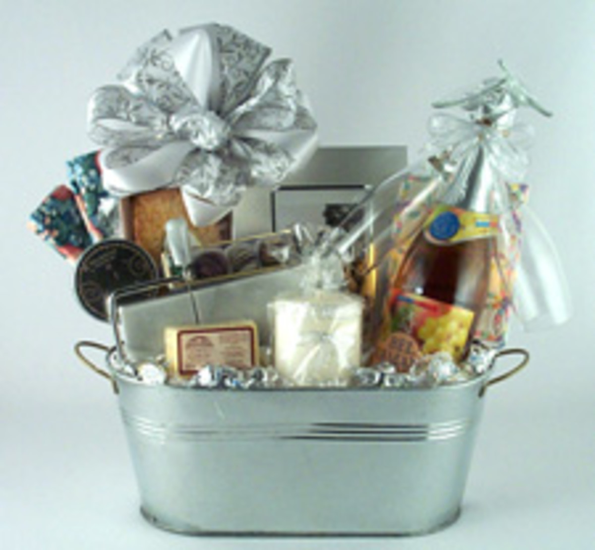 Silver Wedding Anniversary Gift Ideas Parents : 25th Silver Wedding Anniversary Gift Basket - GB300