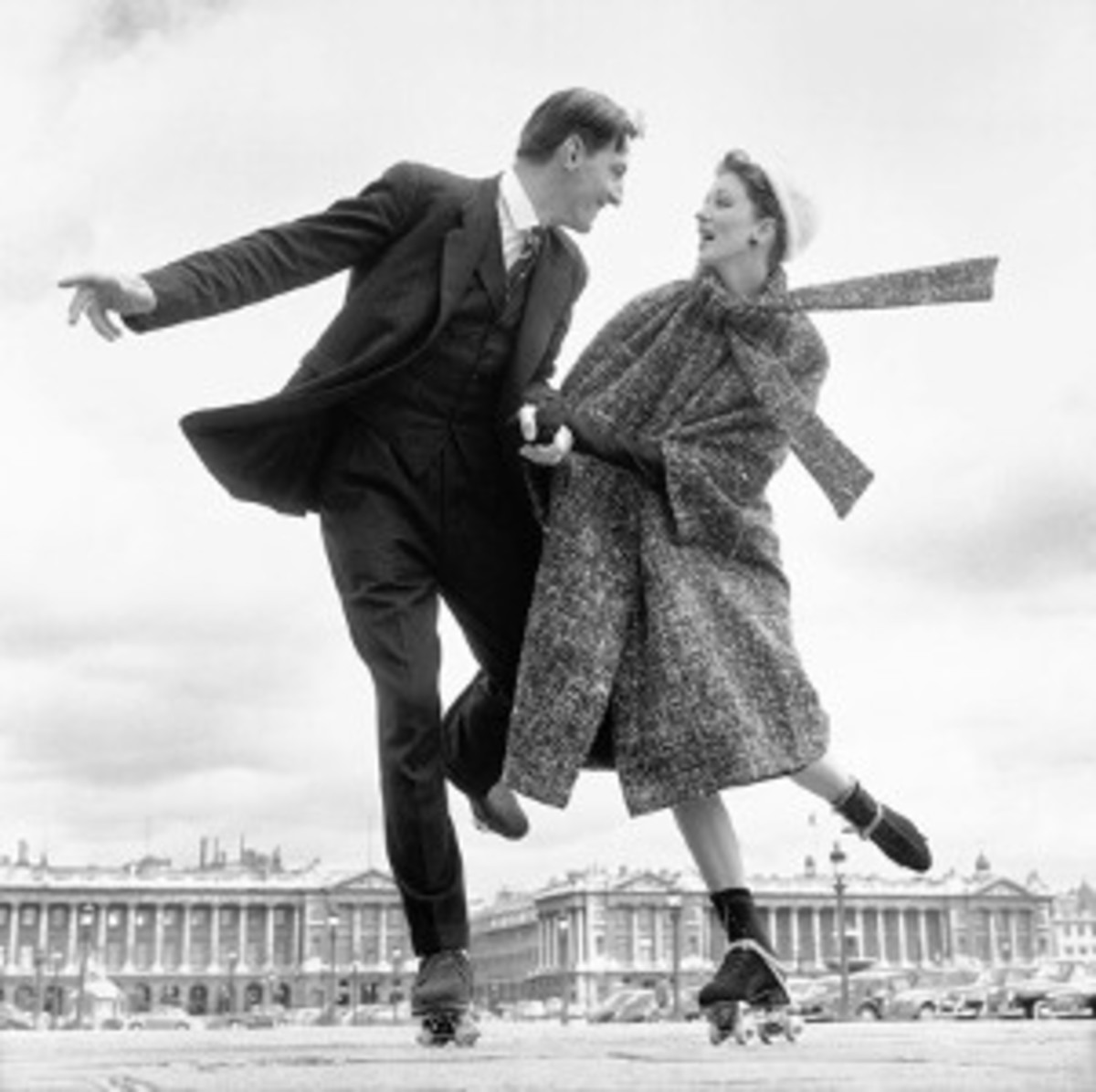 Avedon brought a fresh approach to fashion, such as this whimsical 1956 photo of models Suzy Parker and Robin Tattersall rollerskating in Paris.