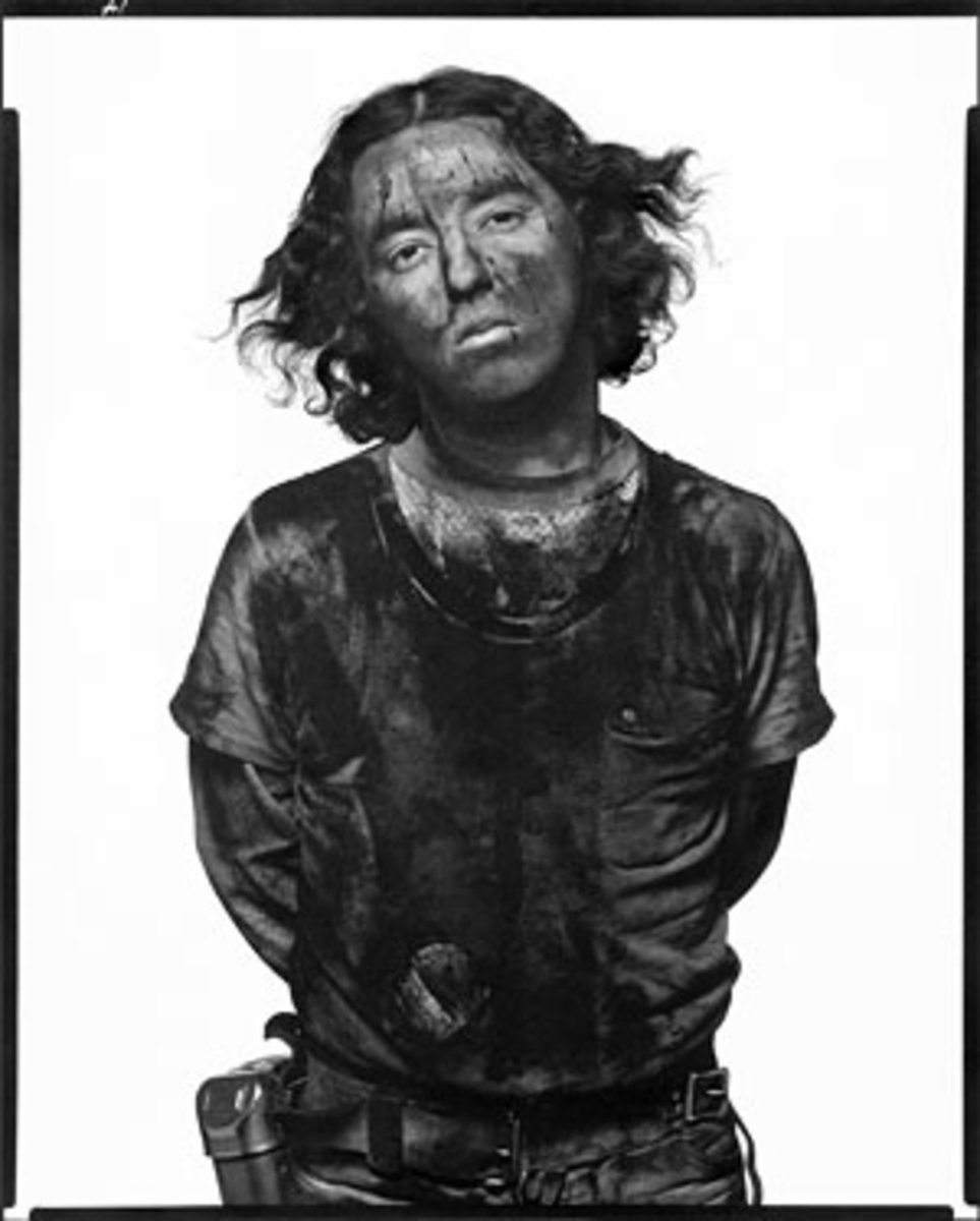 "James Story, coal miner, Somerset, Colorado, December 18, 1979 from Avedon's ""In the American West"" series."