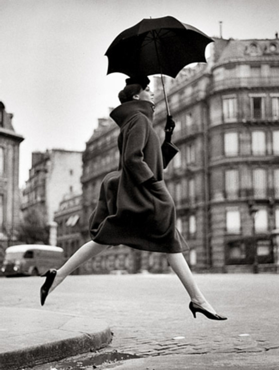 Avedon revolutionized fashion photography by capturing models in motion, as in this 1957 photo.