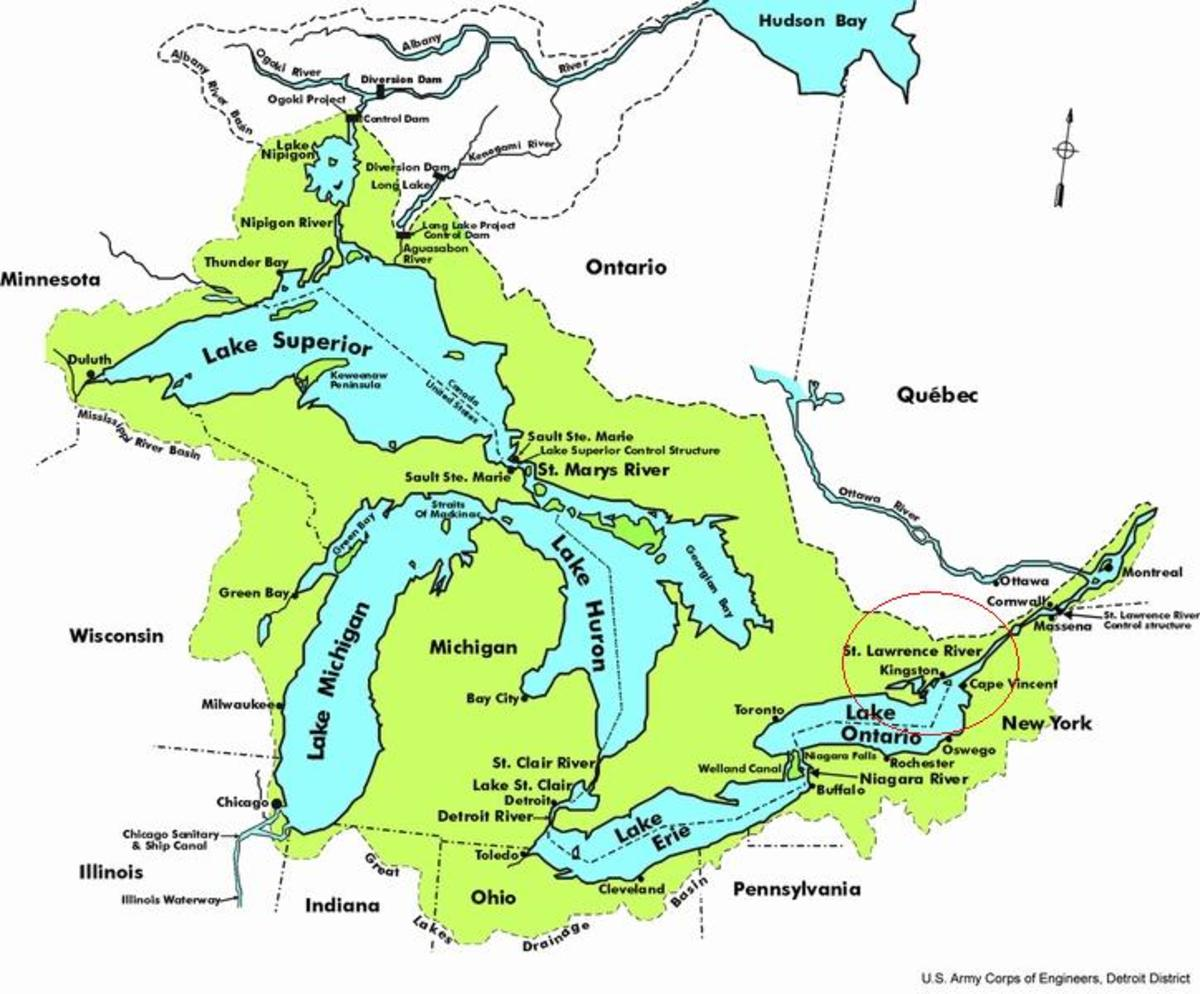 Map of the Great Lakes of Canada and USA. Kingston is within the red circle to the right. [Photos this page, public domain.]