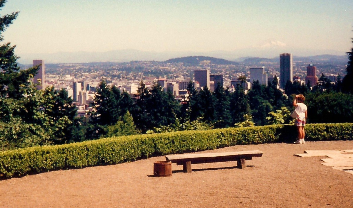 Overlooking Portland and Mt. Hood from the Portland Japanese Garden, Portland, OR