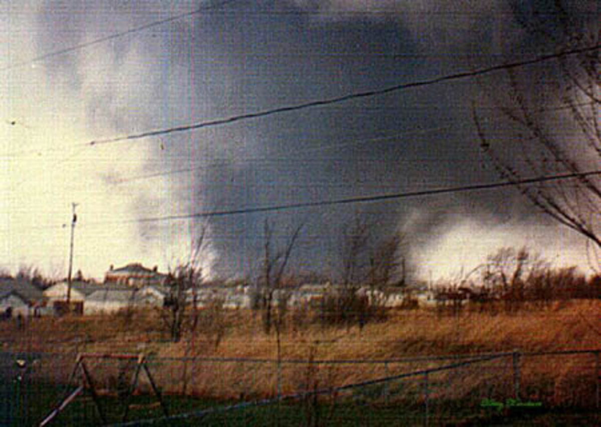 Two of the several Tornadoes caused during the 1974 Super Outbreak.