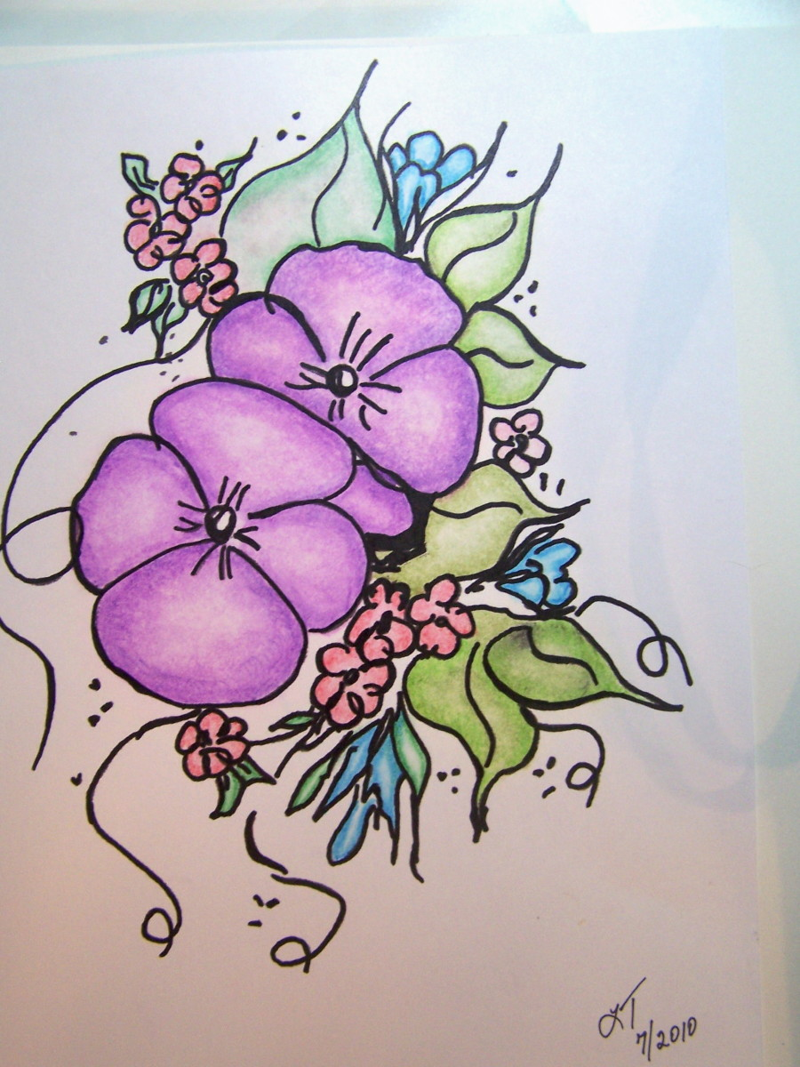 Morning glory flowers done with colored pencil and blended with mineral spirits