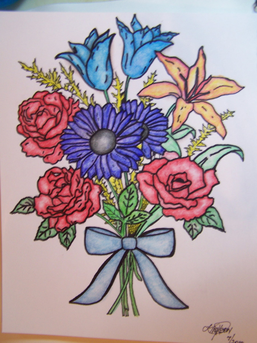 Floral design with blended color pencils