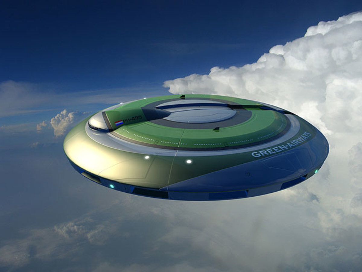 The Netherlands are building this alternative to a regular jet liner. It is a true terrestrial flying saucer, though powered by jets and jet fuel. It can be modified to be powered from greener power sources.