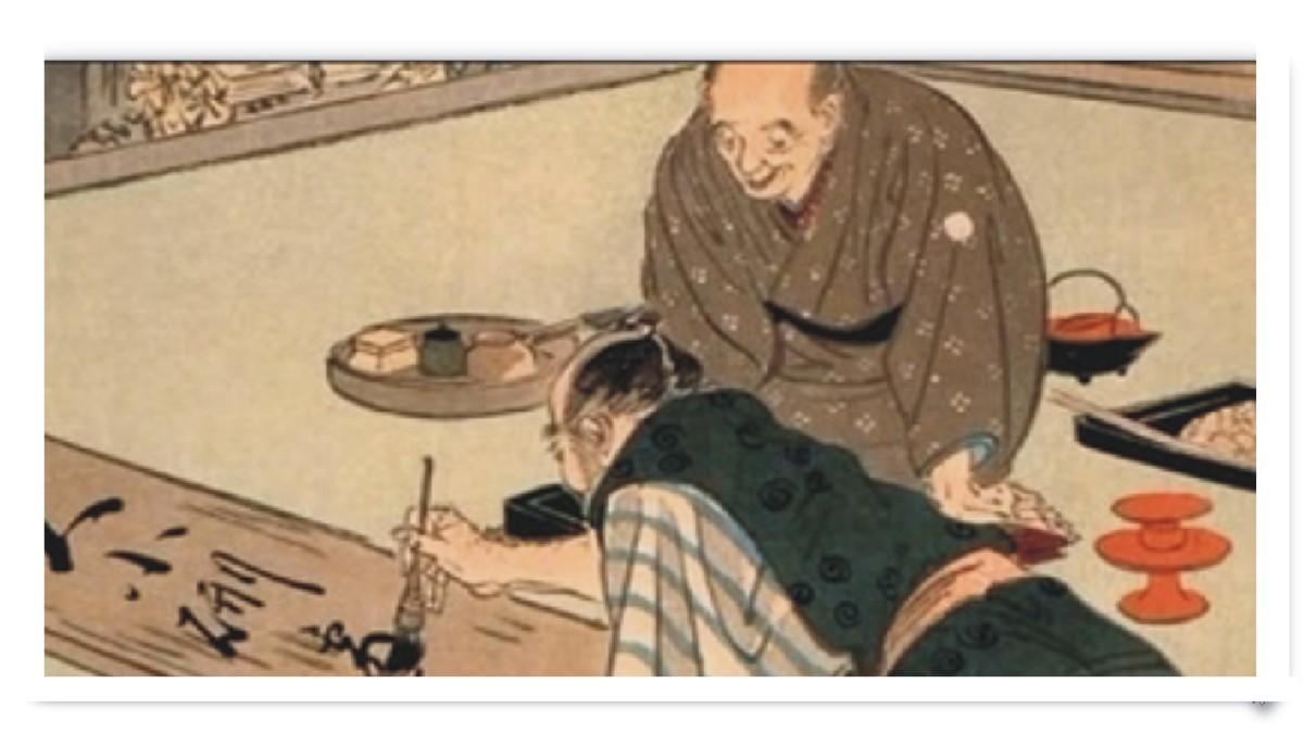 Two Samurai writing haiku in sumi ink on rice paper.