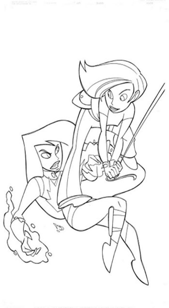 Kim Possible Character Coloring Pages, Pictures and Colouring Sheets