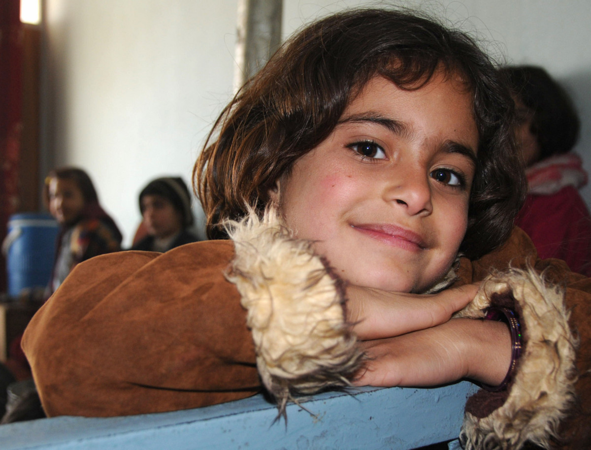 An Afghan girl at The House of the Desperate in Mazari Sharif, Afghanistan, January 2009.