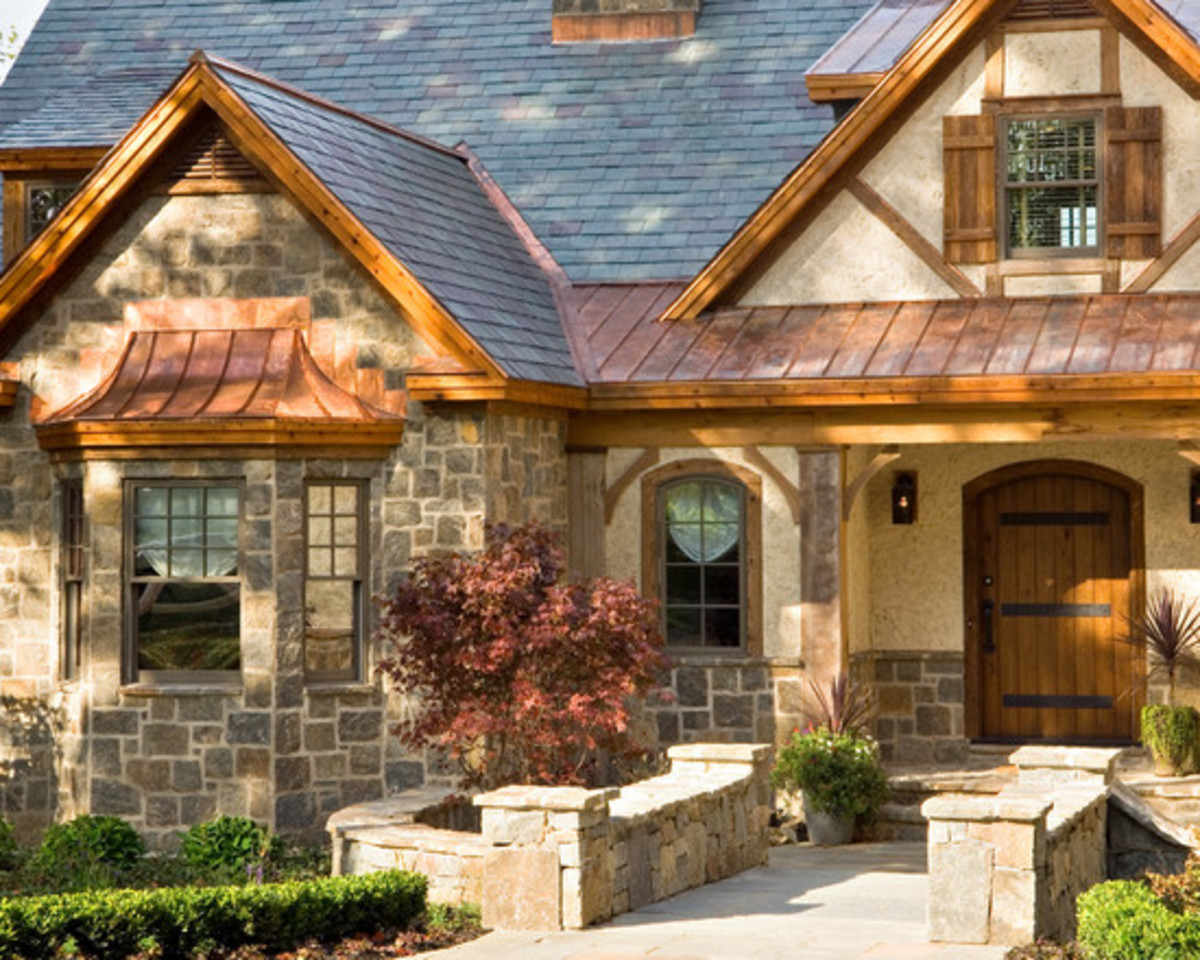 Faux Copper Metal Roof on Classic Tudor Style House