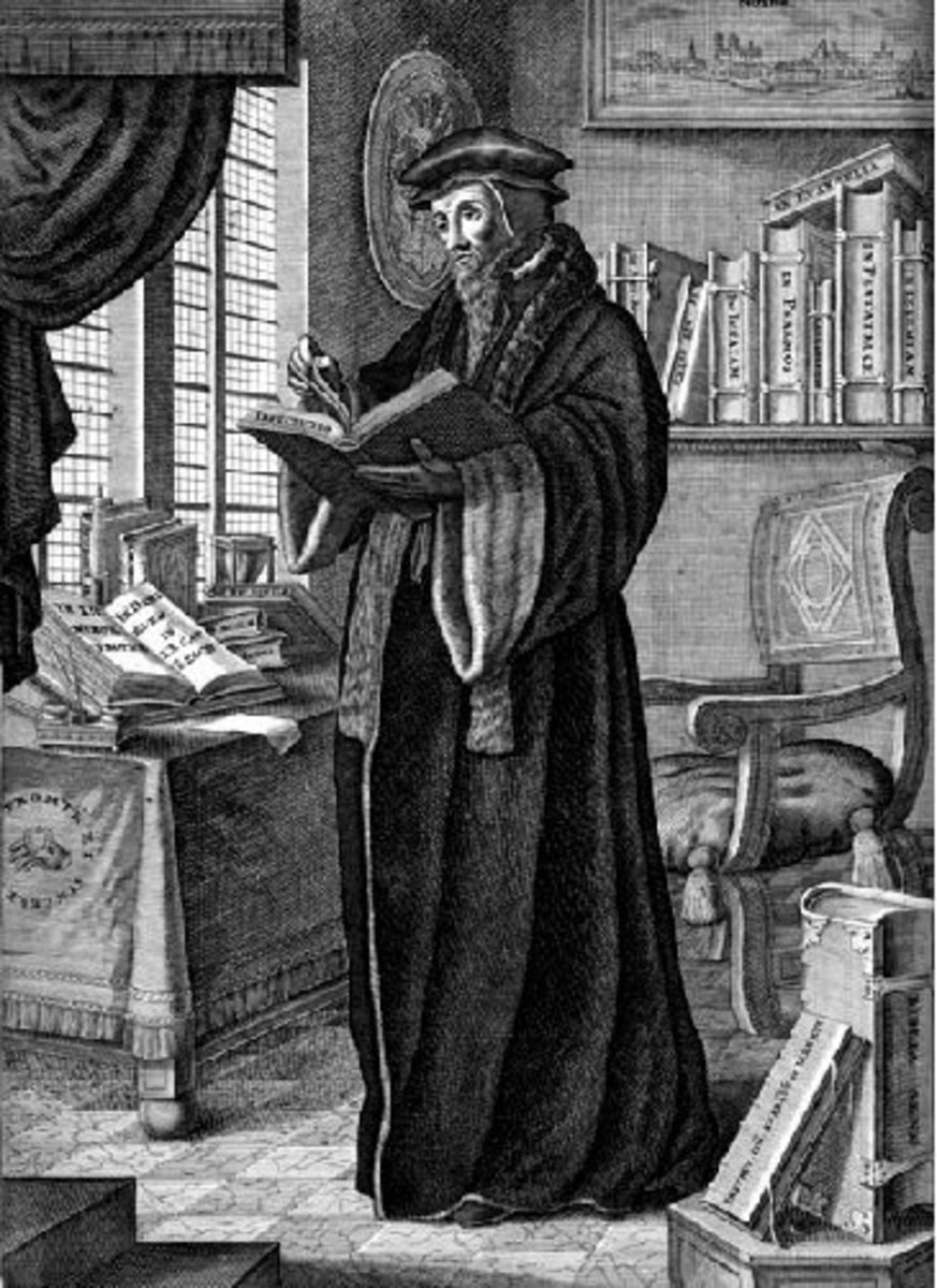 John Calvin was a lawyer turned theologian during the Great Reformation. He lived in Geneva for a time creating his theological works including Institutes of the Christian Religion.