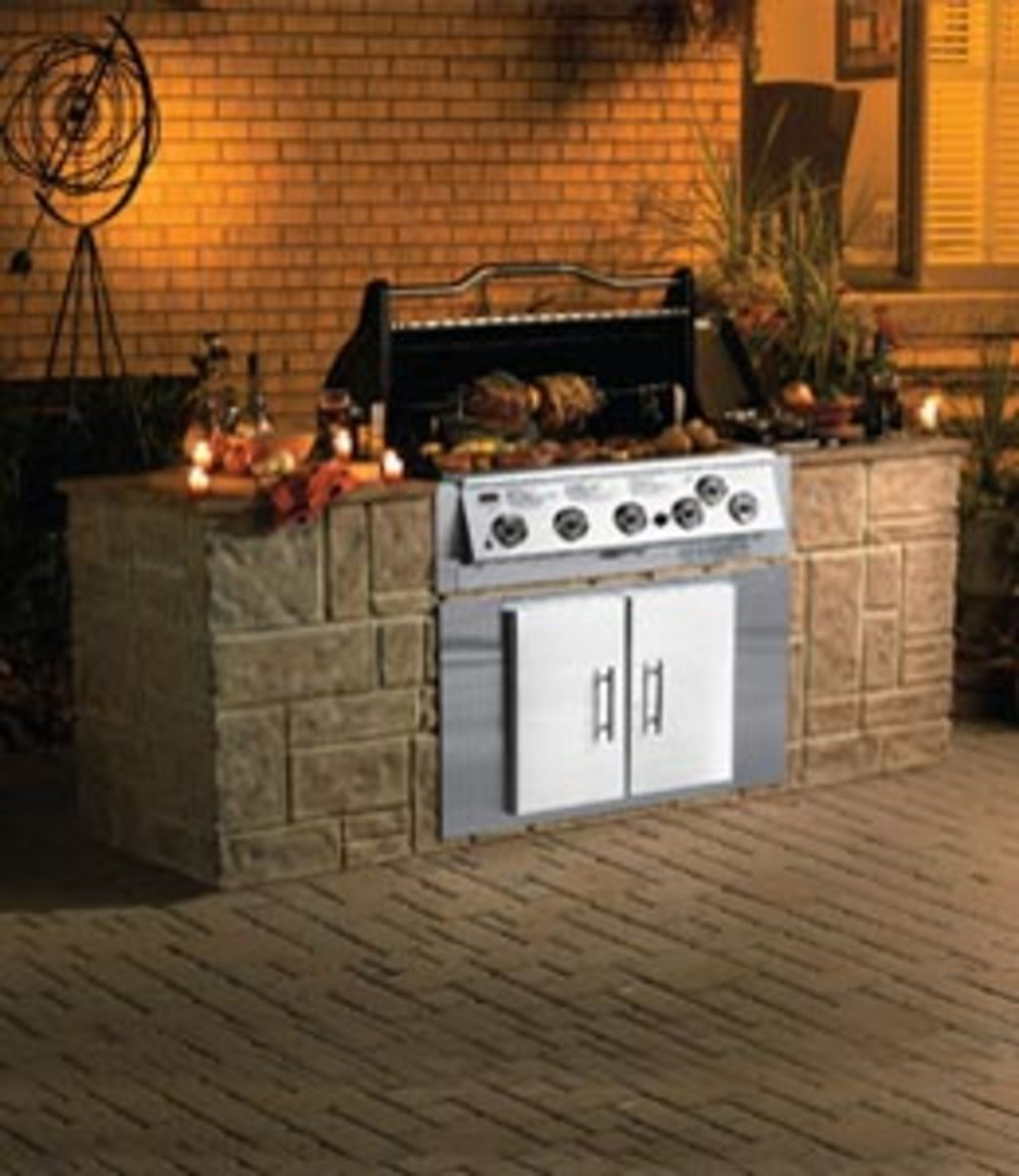 An example of an outdoor kitchen island