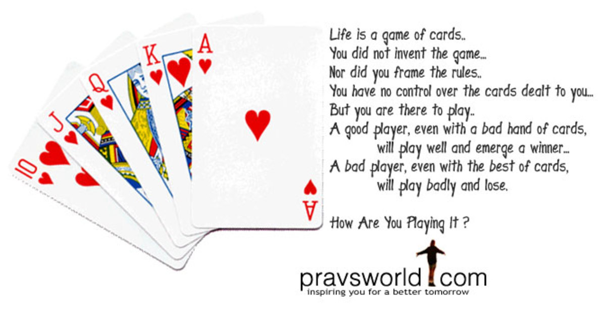 "Motivational Poster ""Life is a Game of Cards"" Photo of Playing Cars King of Hearts,  Ace, Queen"