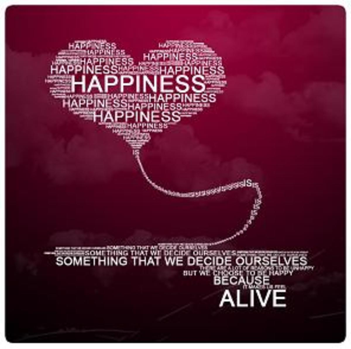Happiness Motivational Poster in red with white wording shaped in a heart detailing that Happiness is something we decide for ourselves