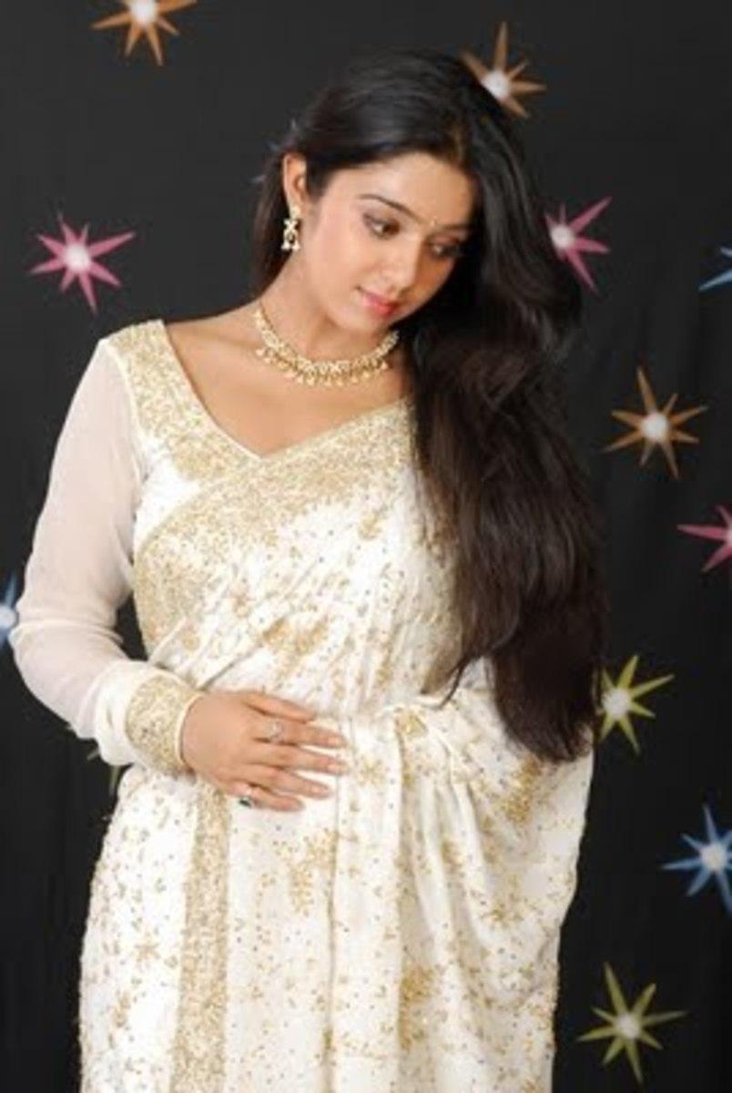 Off white full sleeve sari blouse style