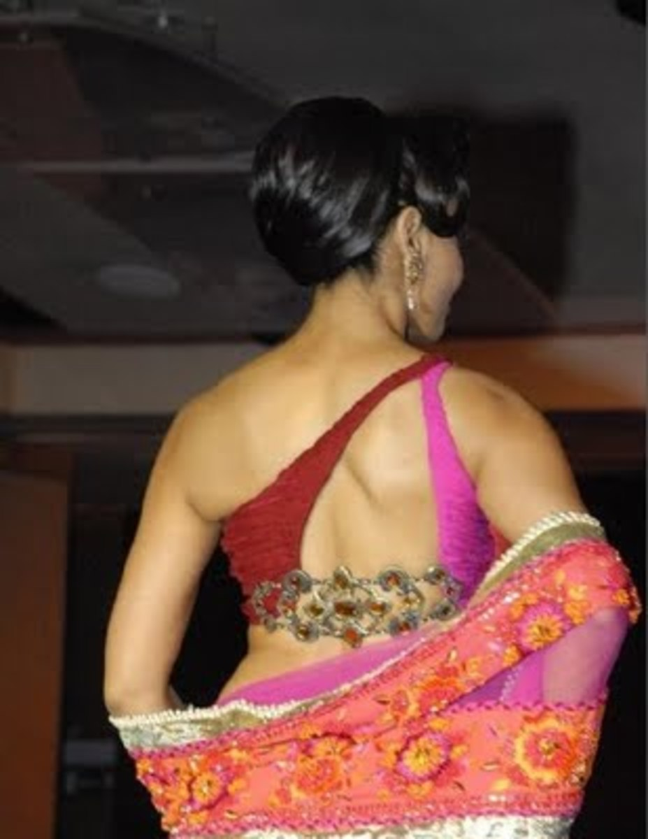 one shoulder off saree blouse