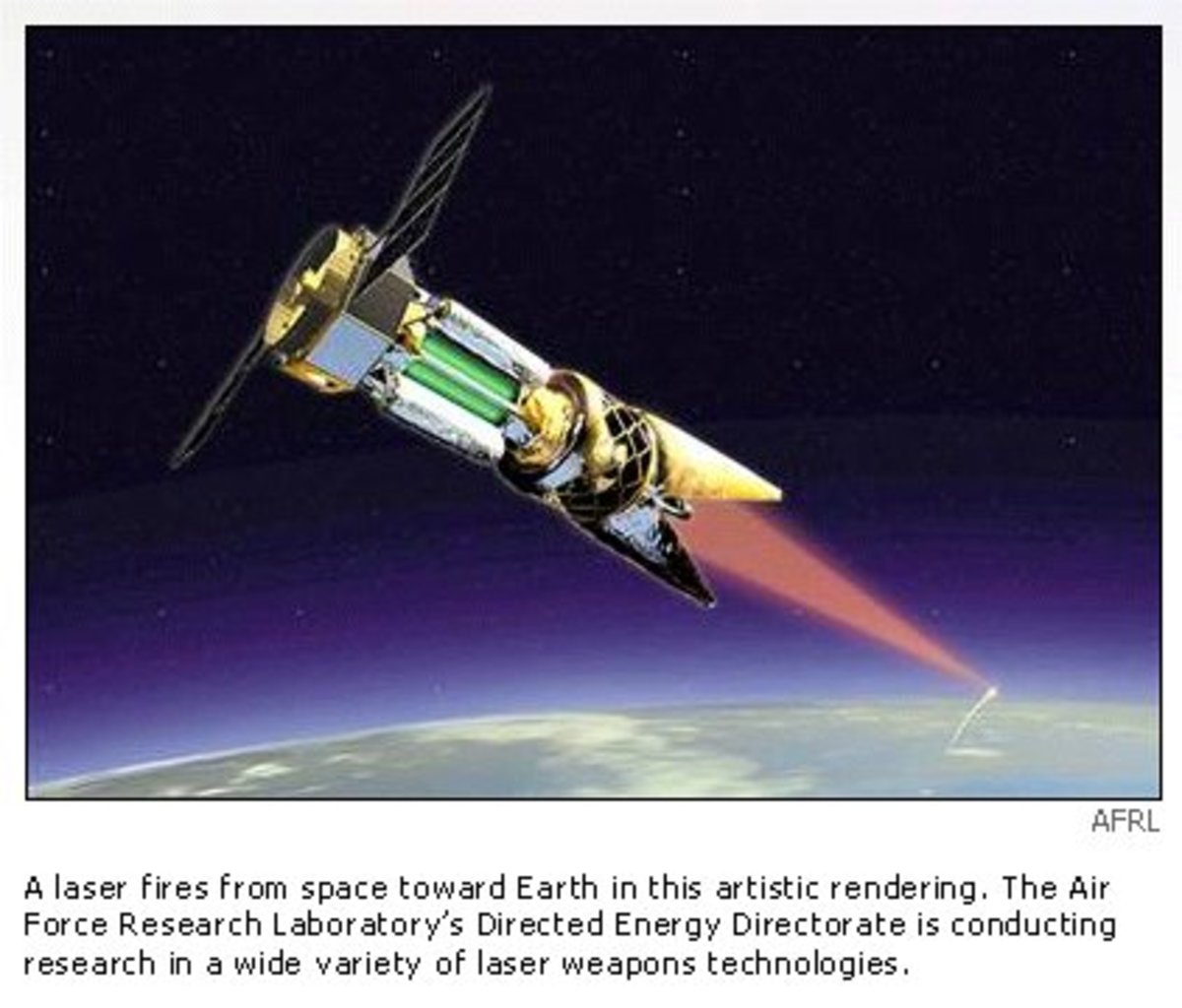 space born lasers are another form of beamed weapon. However, a laser in space can be used for peaceful purposes such as energy transfer for power generation, or a remote fuel source for interplanetary vehicles. EMP beams however can only be used eit