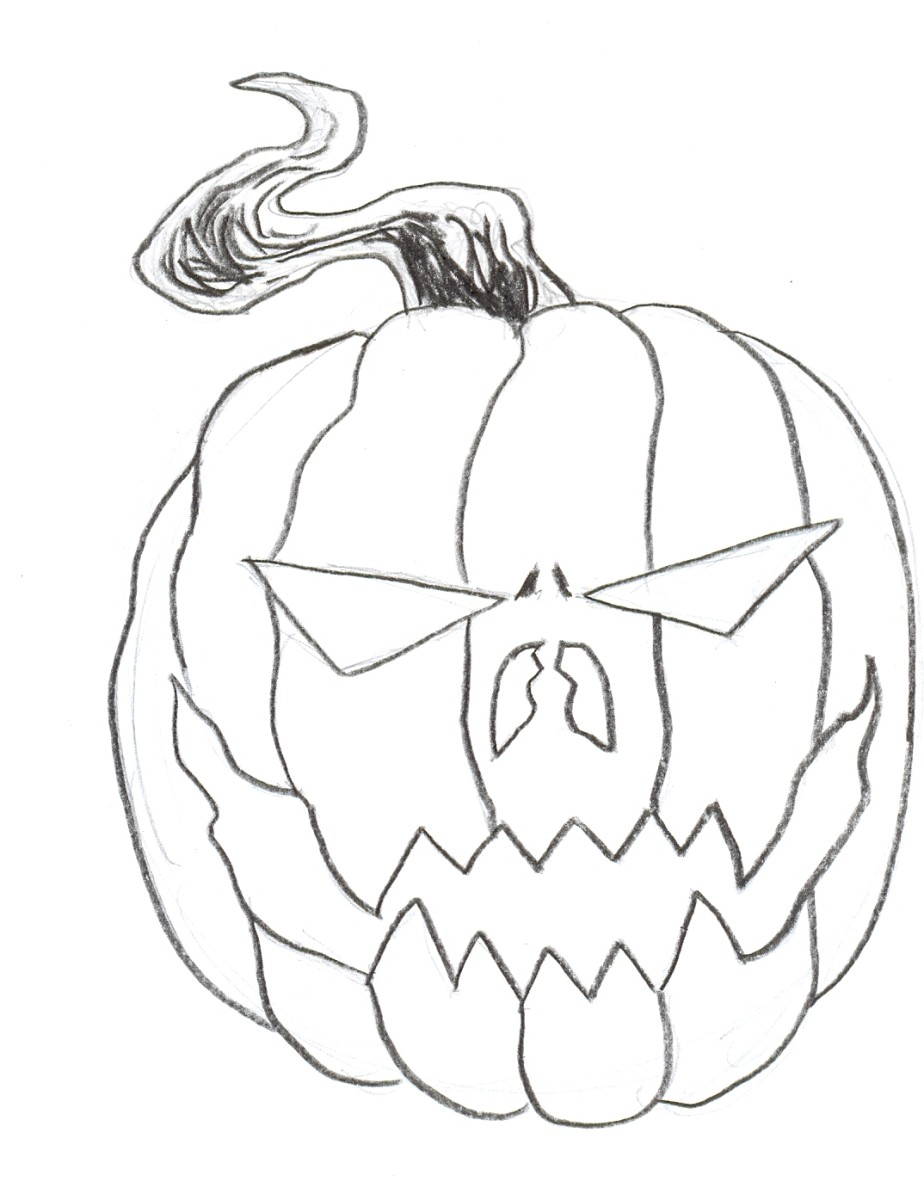 Draw a halloween pumpkin. Finish drawing in the details. Art by Wayne ...
