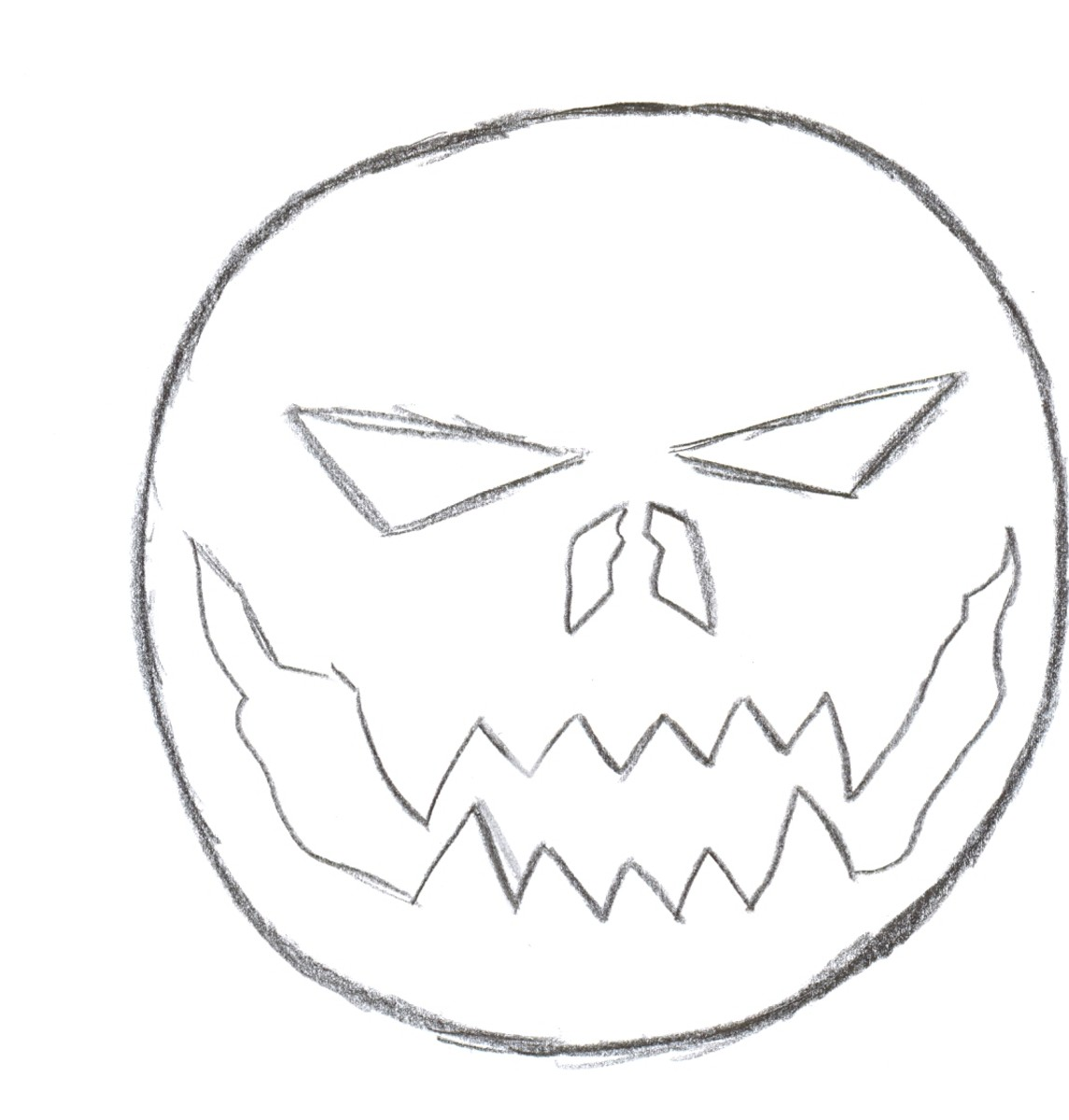 Draw Halloween pumpkins - Drawing the pumpkins face.