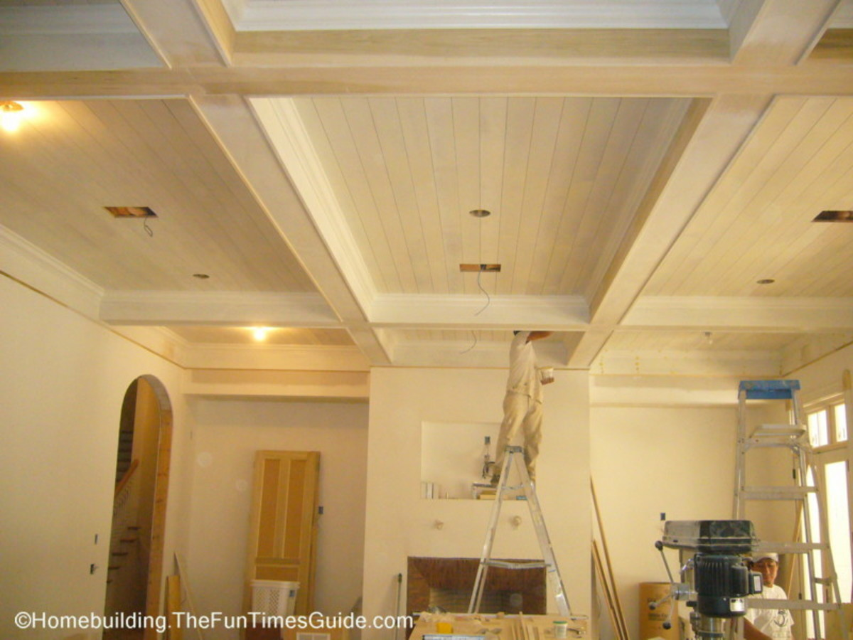 white wood ceiling coffered
