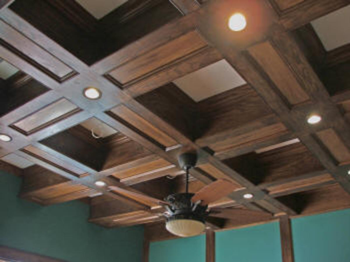 oak wood coffered ceiling
