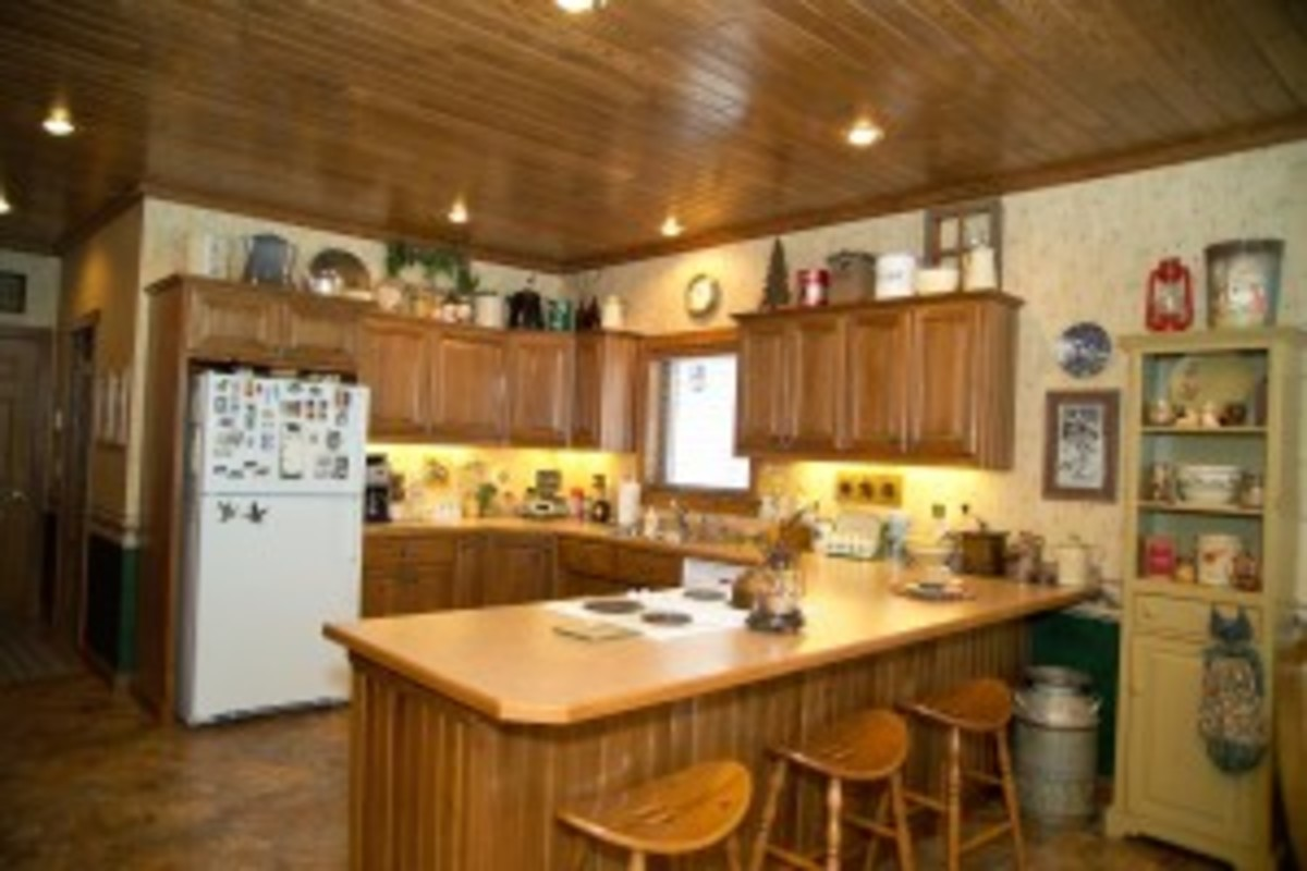 wood ceiling in the kitchen