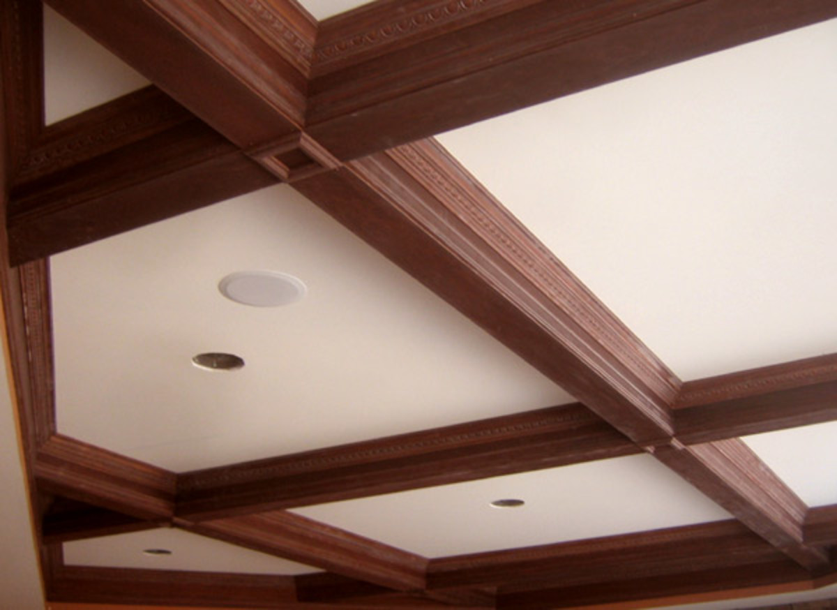 coffered wood ceiling