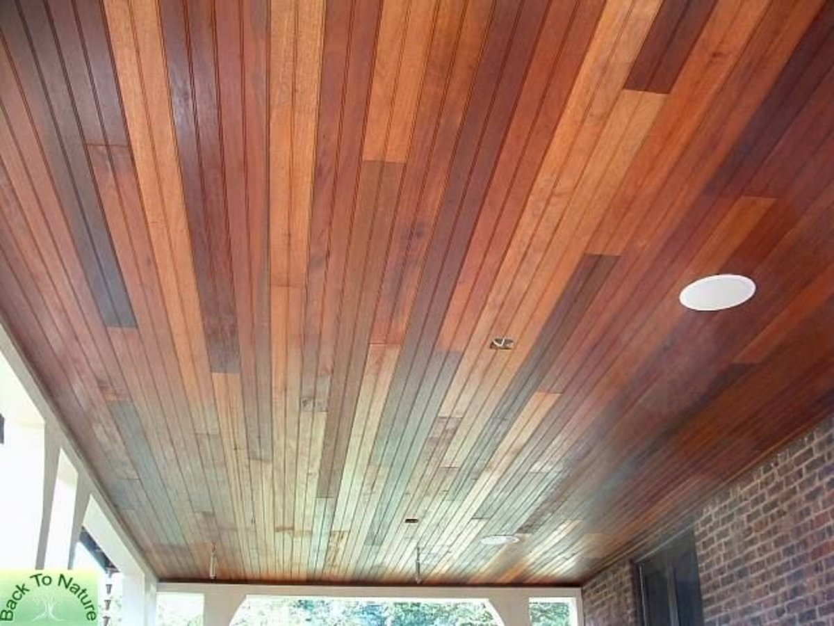 tongue and groove mahogany wood ceiling