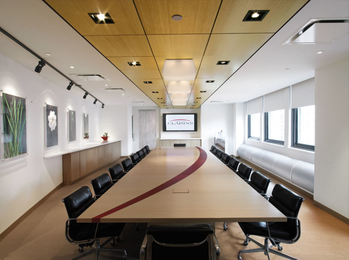 coffered wood ceiling in bamboo for a conference room office