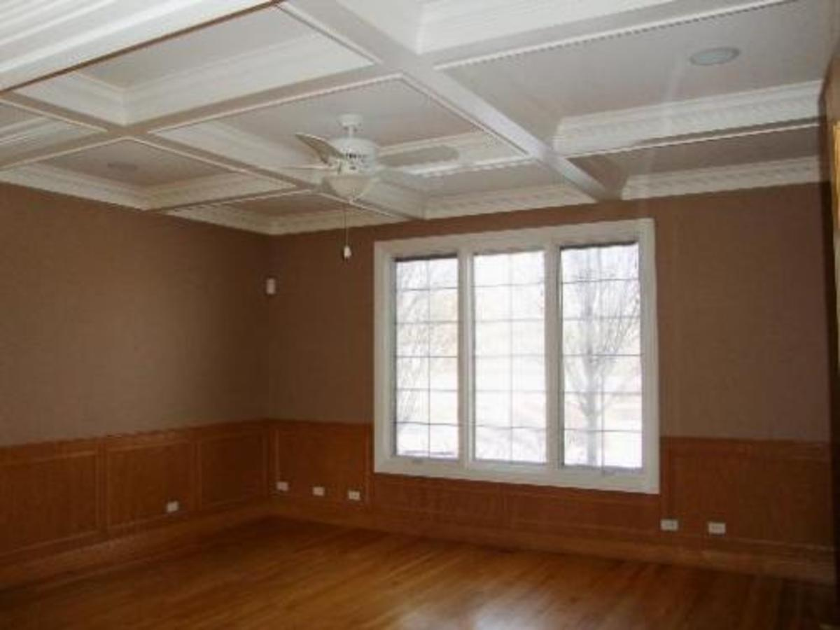 coffered wood ceiling painted white