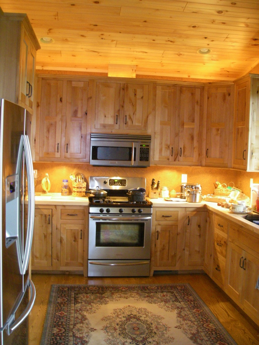 pine wood ceiling in a pine wood kitchen