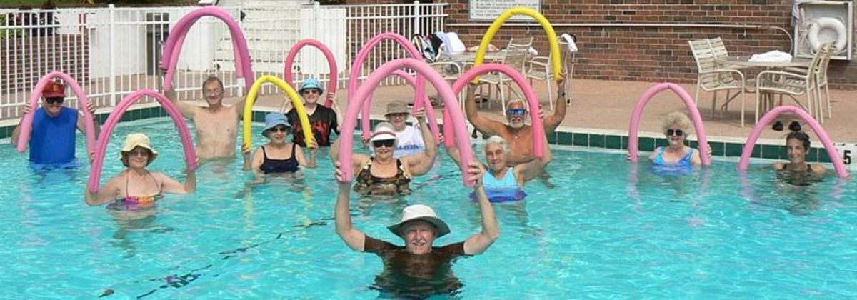 Water aerobics class for seniors - Public domain image