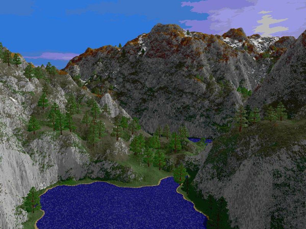 Fractal-generated mountain landscape