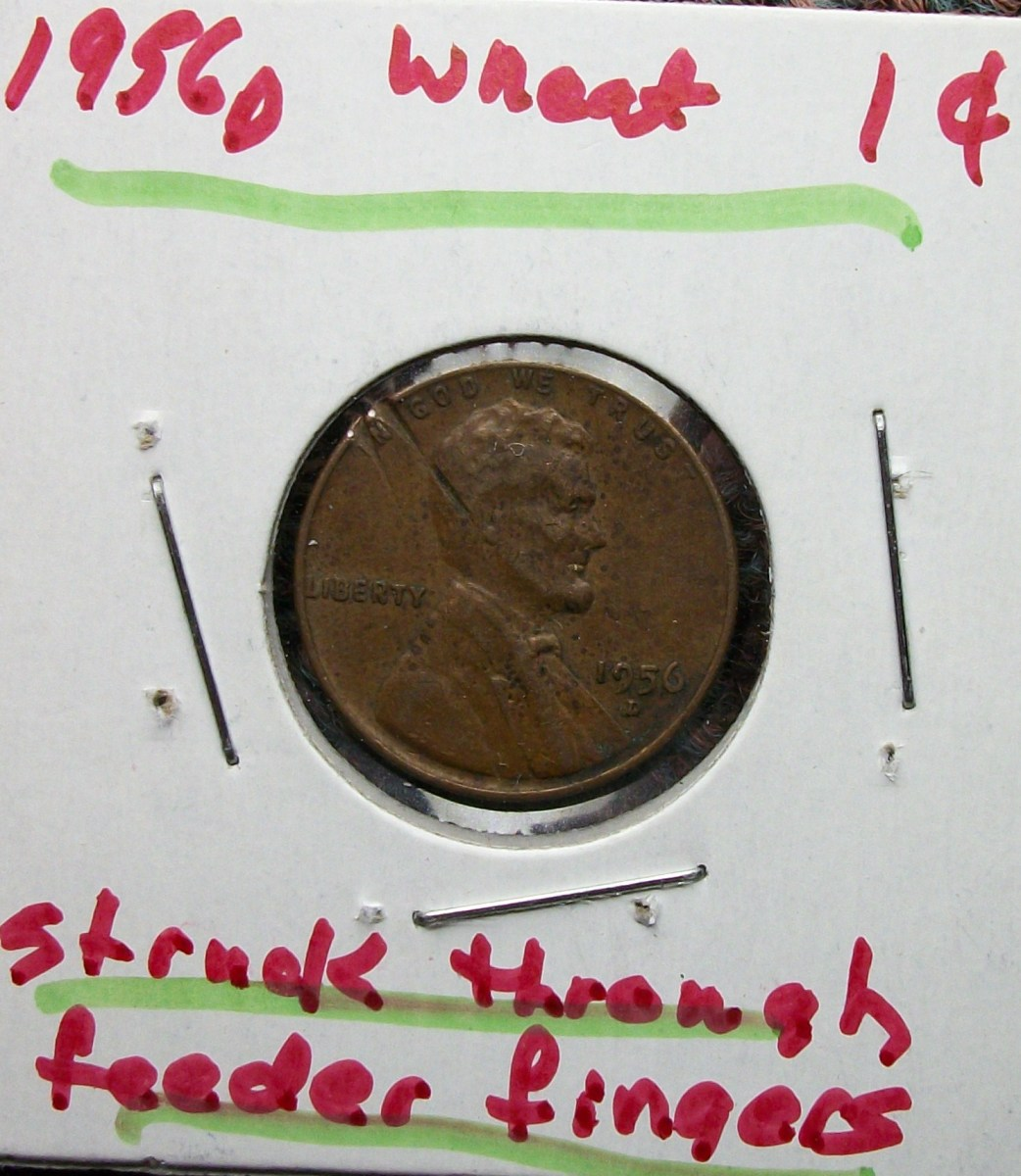 1956D Lincoln Wheat Leaf Penny  Struck on Feeder Fingers Error