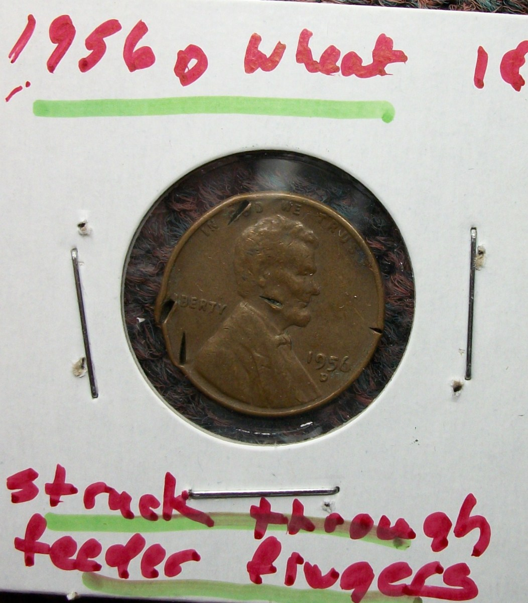 1956D Lincoln Wheat Leaf Penny  Struck on Feeder Finger Error