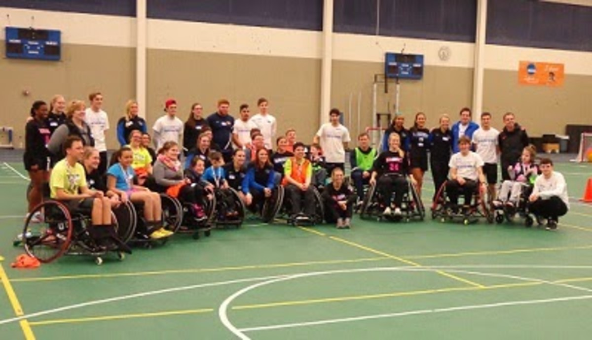 University of Mary soccer players team up with Dreams in Motion to help kids with mobility challenges play wheelchair soccer.