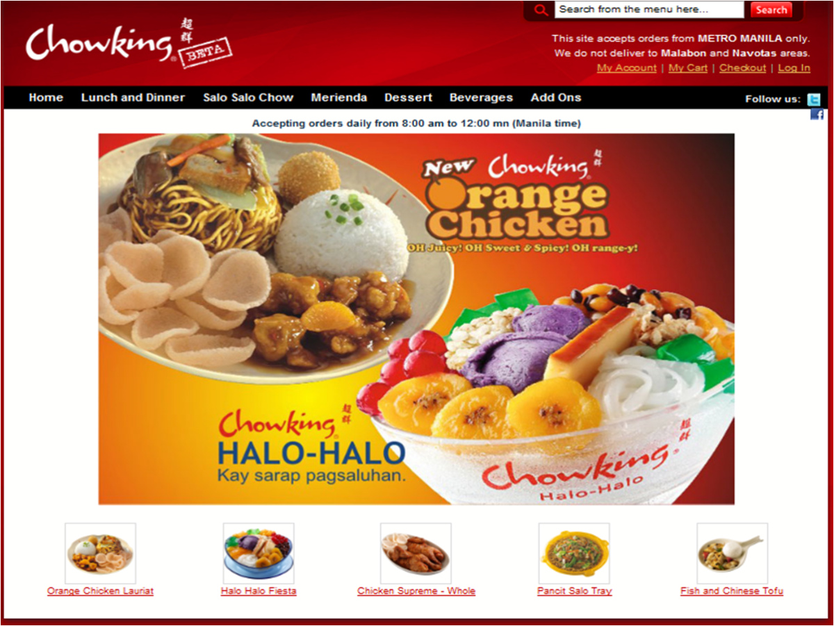 Chowking Delivery Number and Menu Philippines