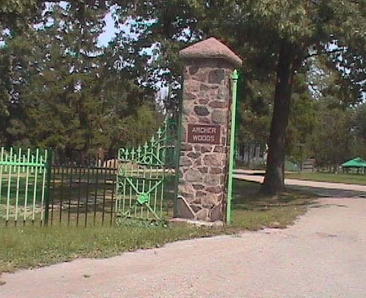 The gates of Archer Woods Cemetery