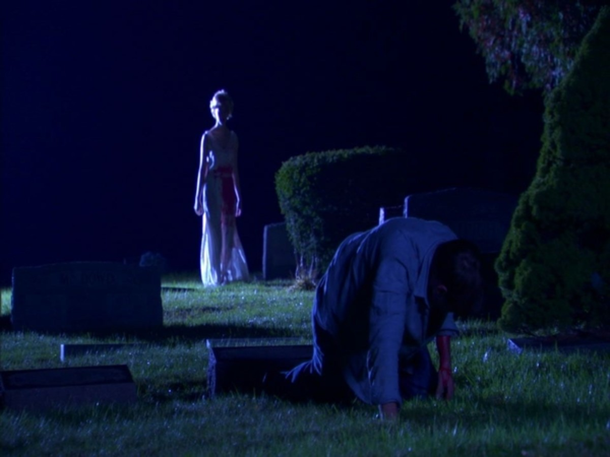 Scene from Resurrection Mary.  Eva Bloomfield as Mary and Jason Ryan Lovett as Shawn