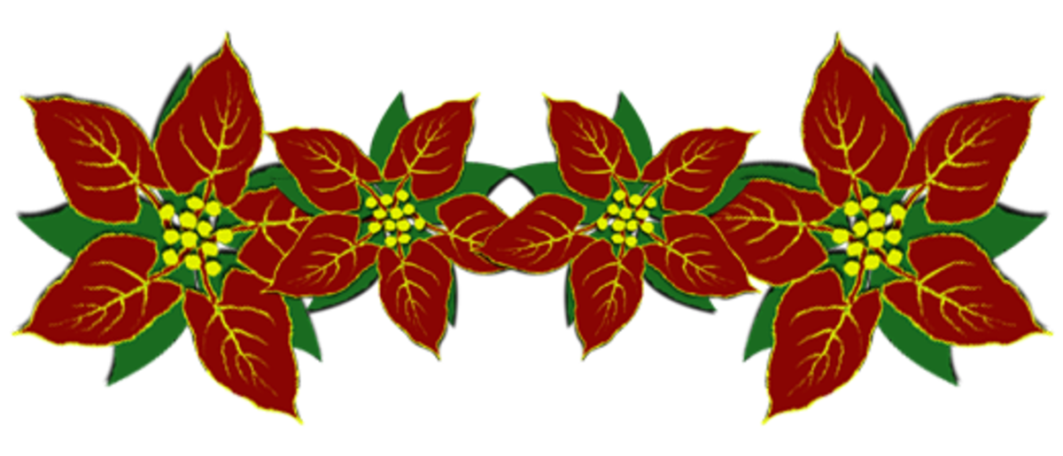 Poinsettias Christmas clip art divider.