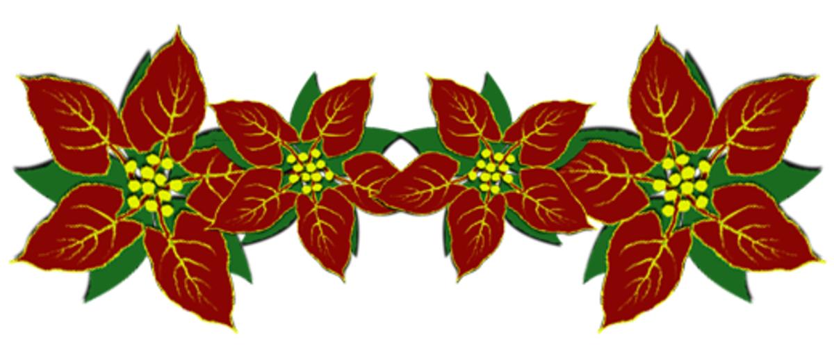 Poinsettias Christmas clip art divider.