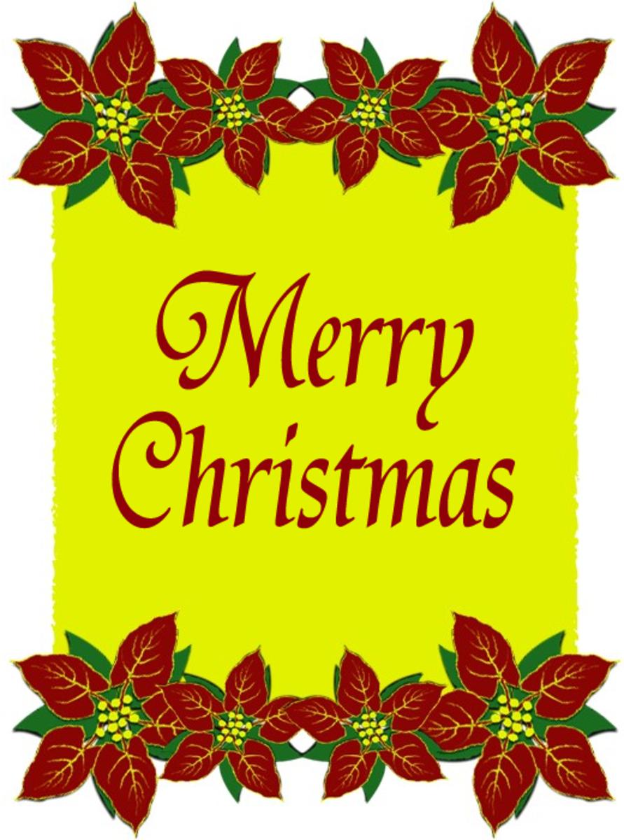 Merry Christmas Poinsettias Clip Art